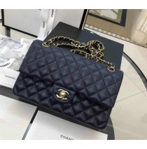 Chanel Small Classic Flap Bag in Dark Blue Lambskin with golden hardware