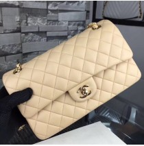 Chanel Small Classic Flap Bag in Tan Lambskin with golden hardware