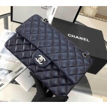 Chanel Small Classic Flap Bag in Dark Blue Lambskin with silver hardware