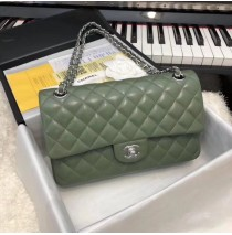 Chanel Small Classic Flap Bag in Green Lambskin with silver hardware