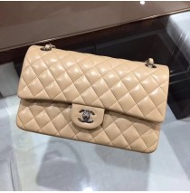 Chanel Small Classic Flap Bag in Tan Lambskin with silver hardware