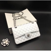 Chanel Small Classic Flap Bag in White Lambskin with silver hardware