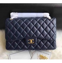 Chanel Jumbo Classic Flap Bag in Dark Blue Lambskin with golden hardware