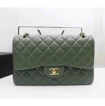 Chanel Jumbo Classic Flap Bag in Green Lambskin with golden hardware