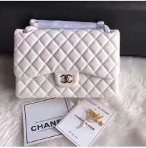 Chanel Jumbo Classic Flap Bag in White Lambskin with golden hardware