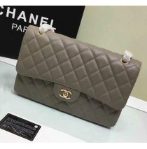 Chanel Jumbo Classic Flap Bag in Gray Caviar Leather with golden hardware