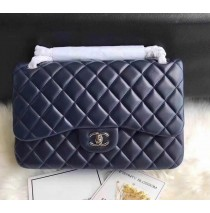 Chanel Jumbo Classic Flap Bag in Dark Blue Lambskin with silver hardware