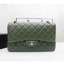 Chanel Jumbo Classic Flap Bag in Green Lambskin with silver hardware