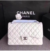 Chanel Jumbo Classic Flap Bag in White Lambskin with silver hardware