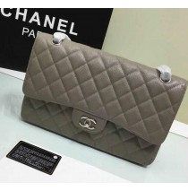 Chanel Jumbo Classic Flap Bag in Gray Caviar Leather with silver hardware