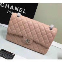 Chanel Jumbo Classic Flap Bag in Pink Caviar Leather with silver hardware