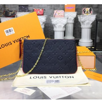 Louis Vuitton Monogram Empreinte Leather Double Zip Pochette Marine Rouge M63916