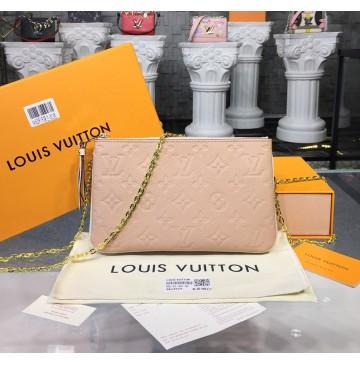 Louis Vuitton Monogram Empreinte Leather Double Zip Pochette Beige Dore M63919