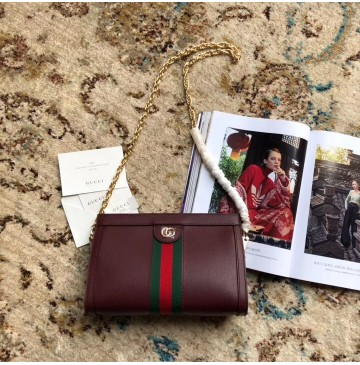 Gucci Ophidia GG Small Shoulder Bag GU503877L-wine-red