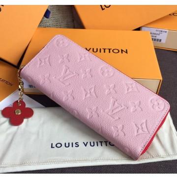 Louis Vuitton Monogram Empreinte Leather Clemence Wallet Rose Poudre M64161