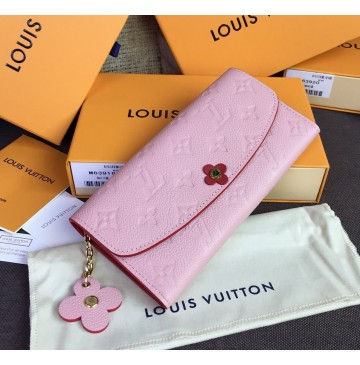 Louis Vuitton Monogram Empreinte Leather Emilie Wallet Rose Poudre M64162