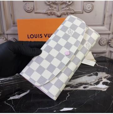 Louis Vuitton Damier Azur Emilie Wallet Rose Ballerine N41625