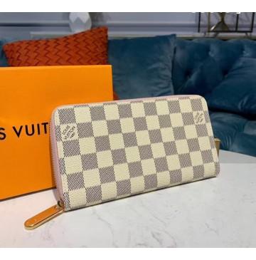 Louis Vuitton Damier Azur Zippy Wallet Rose Ballerine N63503