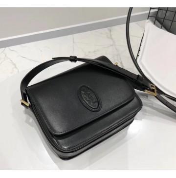 Saint Laurent LE 61 framed small saddle bag in smooth leather YSL1123-black