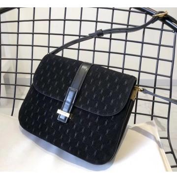 Saint Laurent MONOGRAM ALL OVER small satchel in suede YSL1133-black