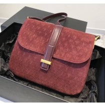 Saint Laurent MONOGRAM ALL OVER small satchel in suede YSL1133-wine-red