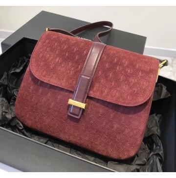 Saint Laurent MONOGRAM ALL OVER small satchel in suede YSL1133-wine-red