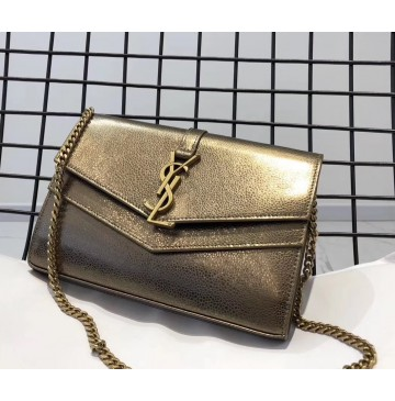 Saint Laurent Sulpice chain wallet in smooth leather YSL6106-bronze