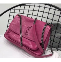 Saint Laurent Medium Niki Chain Bag in Crinkled and Quilted Leather YSL6188-rose
