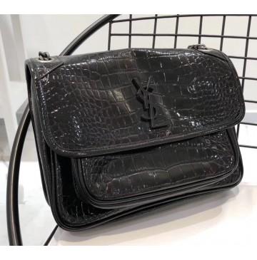 Saint Laurent Medium Niki Chain Bag in Crocodile Embossed Leather YSL6188k-black