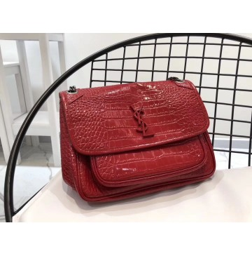 Saint Laurent Medium Niki Chain Bag in Crocodile Embossed Leather YSL6188k-red