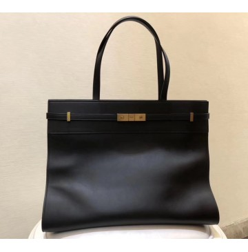 Saint Laurent Medium MANHATTAN shopping bag in smooth leather YSL6469-black
