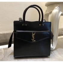 Saint Laurent UPTOWN Small tote in shiny smooth leather YSL6491-black