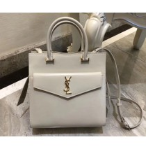 Saint Laurent UPTOWN Small tote in shiny smooth leather YSL6491-white