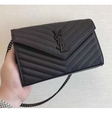 Saint Laurent Monogram Chain Wallet in Black Grain de Poudre Textured Matelasse Leather with Black-toned Hardware