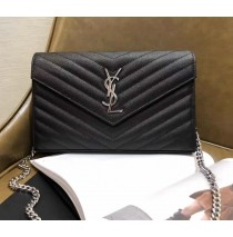 Monogram Saint Laurent Chain Wallet in Black Grain de Poudre Textured Matelasse Leather with Silver-metal Toned Hardware