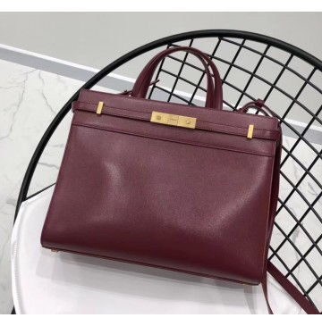 Saint Laurent MANHATTAN Small shopping in smooth leather YSL6968-wine-red
