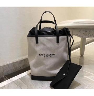 Saint Laurent TEDDY shopping bag in linen canvas YSL8805-white