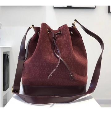 Saint Laurent MONOGRAM ALL OVER bucket bag in suede YSL8811-wine-red