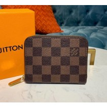 Louis Vuitton Damier Ebene Zippy Coin Purse N63070-brown