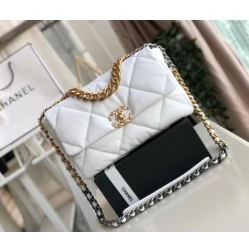 Chanel 19 Large Flap Bag C1161-white