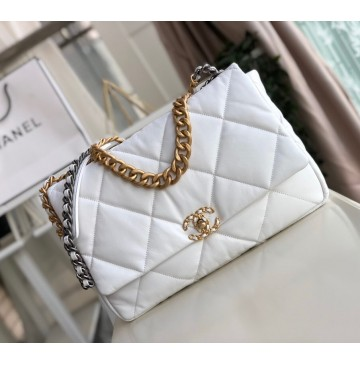 Chanel 19 Maxi Flap Bag C1162-white