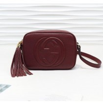 Gucci Soho Small Leather Disco Bag GU308364-wine-red