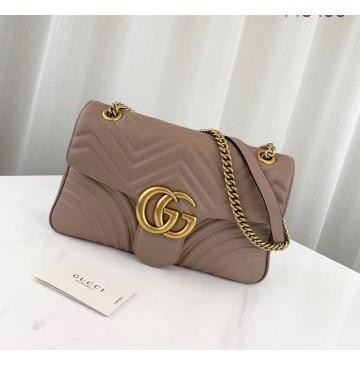 Gucci Medium GG Marmont Matelasse Shoulder Bag Tan