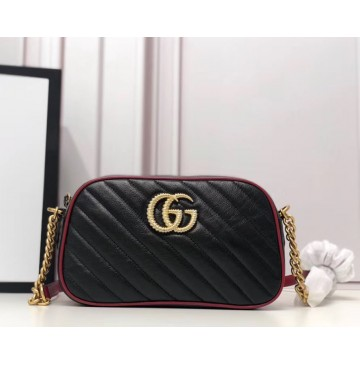 Gucci GG Marmont small matelasse shoulder bag GU447632-black-red