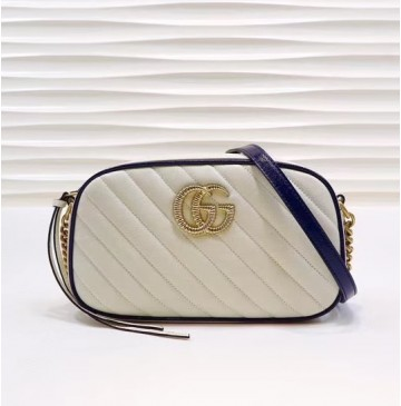Gucci GG Marmont small matelasse shoulder bag GU447632-white-blue
