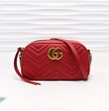 Gucci GG Marmont small matelasse shoulder bag GU447632A-red