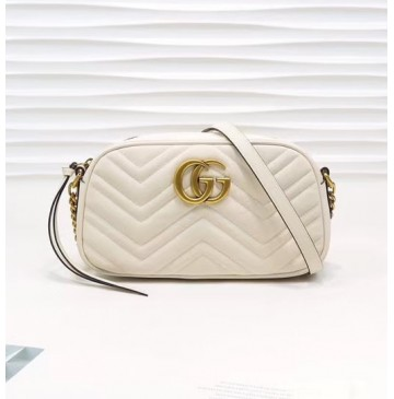 Gucci GG Marmont small matelasse shoulder bag GU447632A-white