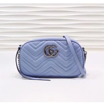 Gucci GG Marmont small matelasse shoulder bag GU447632B-blue
