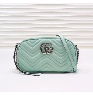 Gucci GG Marmont small matelasse shoulder bag GU447632B-green