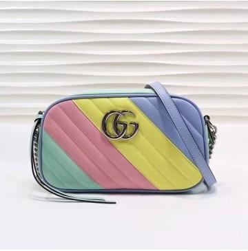 Gucci GG Marmont small matelasse shoulder bag GU447632B-rainbow